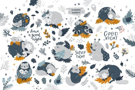Good night Sleeping Forest Animals by tatiletters on.