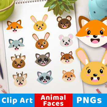 Cute Animal Faces Clipart, Woodland Animal Faces Clipart, Forest Animal  Heads.