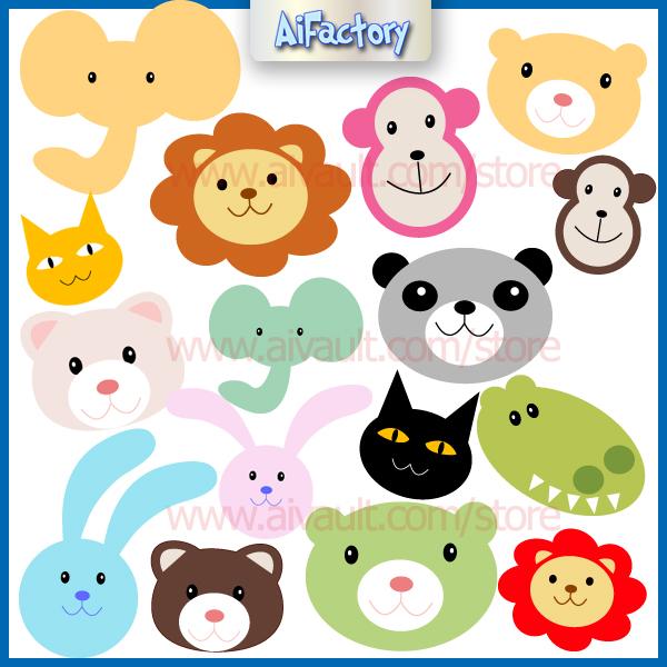 Animals Clipart, Zoo Animal Heads.