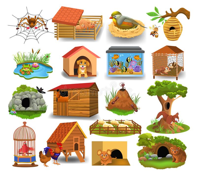 animal and their homes clipart #10
