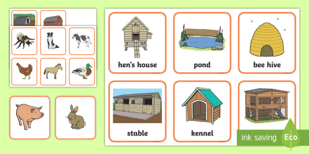 Where Do Different Farm Animals Live Matching Activity.
