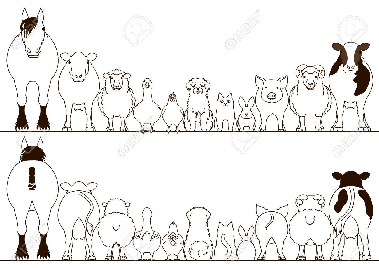 Farm Animals Clipart Border.