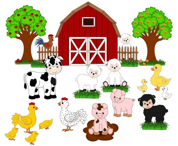 Farm animals , farm clip art, cute animals, barn,fruit trees.