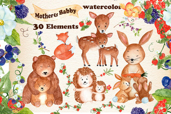 Mother and baby forest animals clipart.