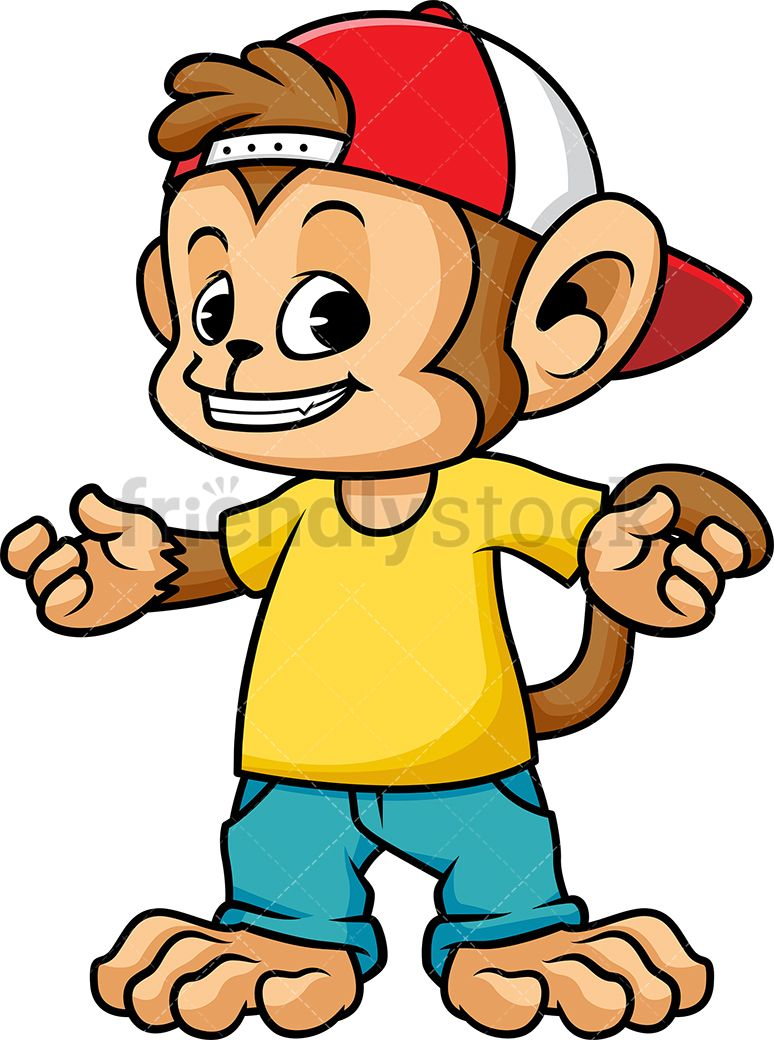 Monkey Wearing Hat And Clothes.