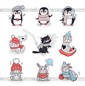 Set Animals in Warm Clothes Design Flat.