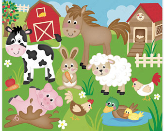 Animals On A Farm Clipart.