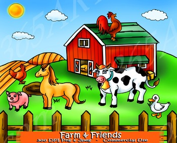 Farm Animal Clipart Set Including Farm and Backdrop.