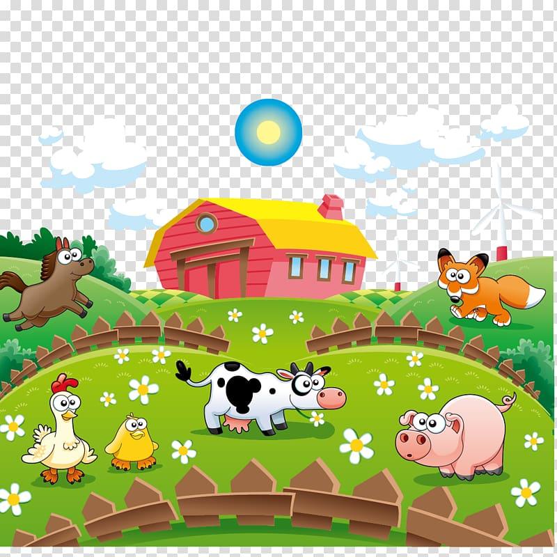 Animals near house illustration, Cattle Cartoon Farm.