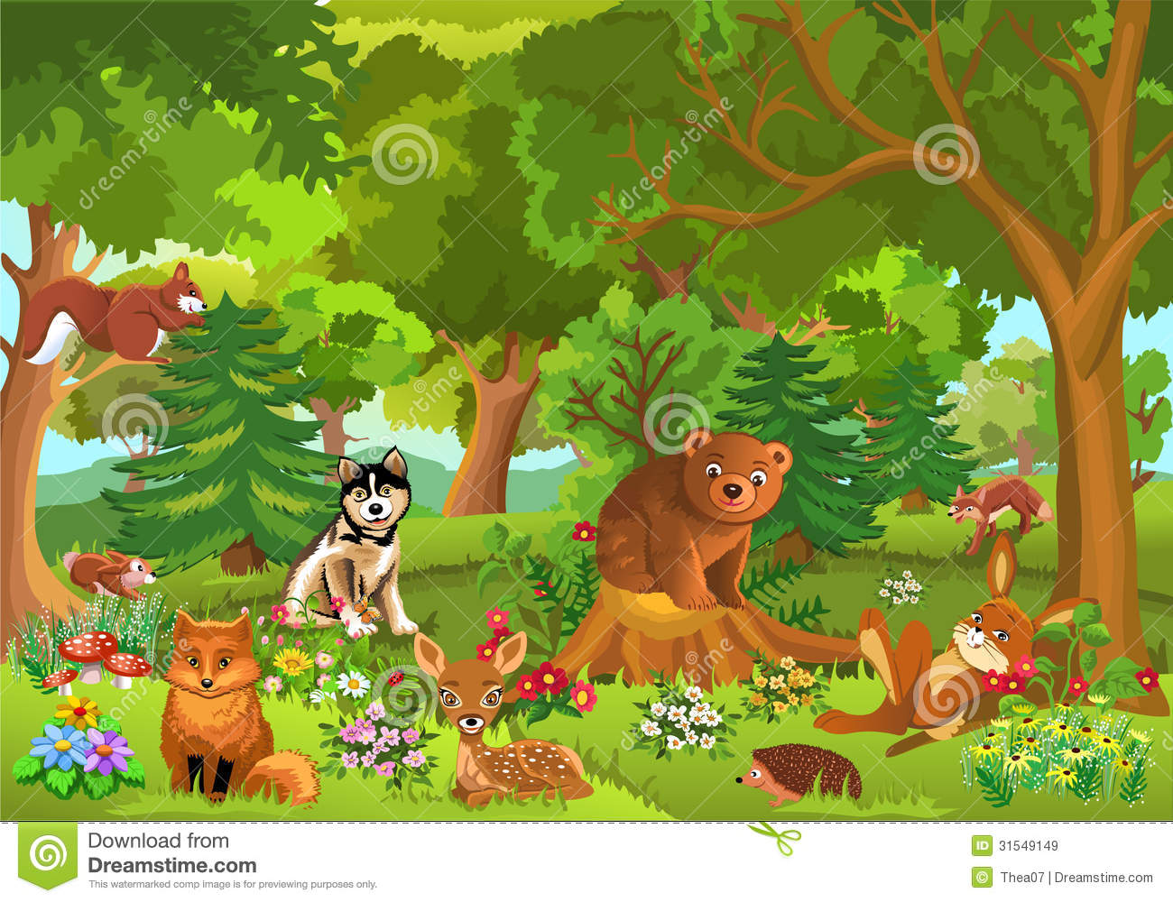 Animals In The Forest Clipart.