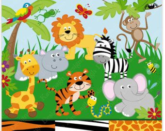 Jungle Animals Clipart and Digital paper ,Jungle clipart.