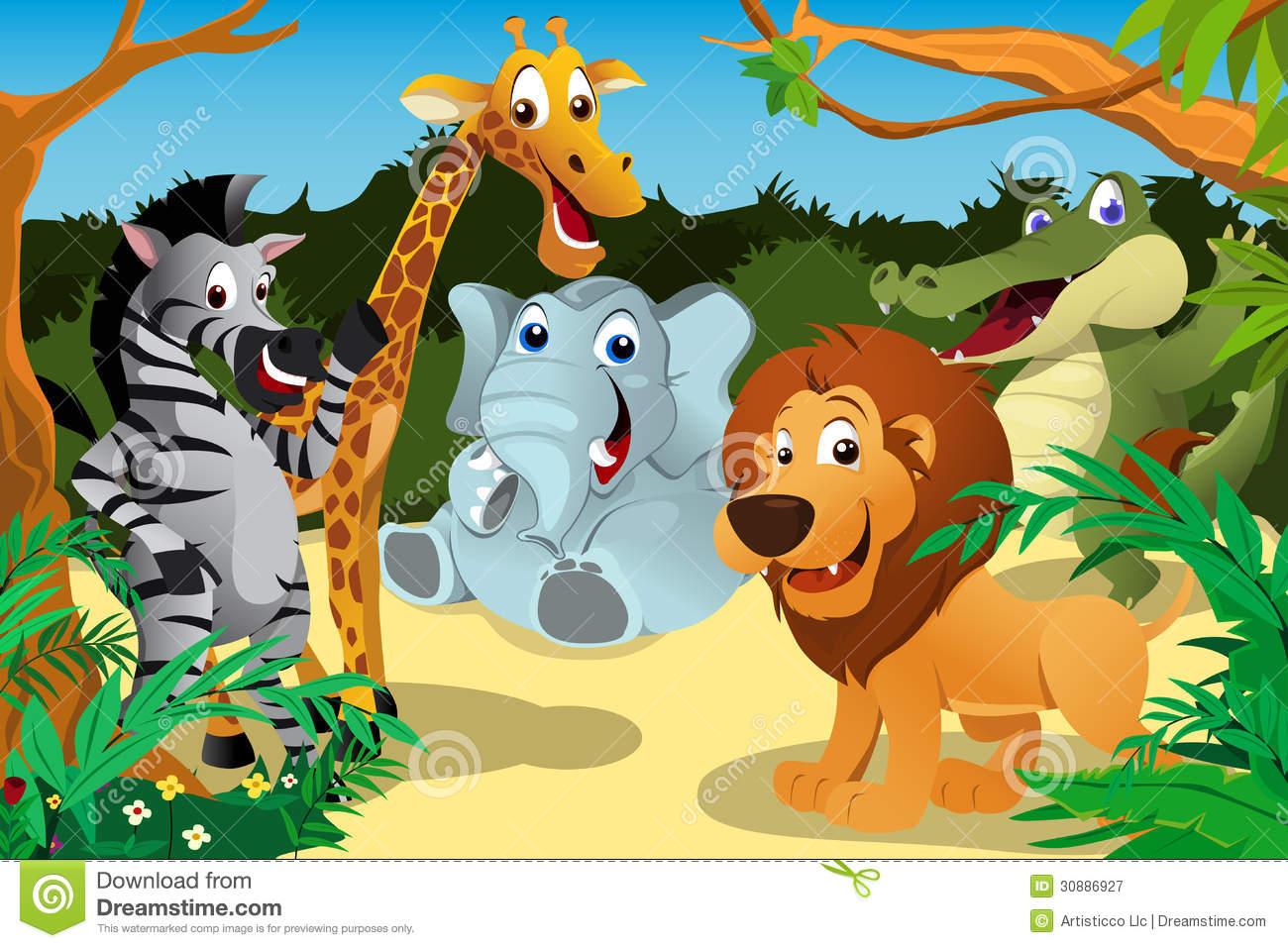 Wild Animals In Jungle Clipart.