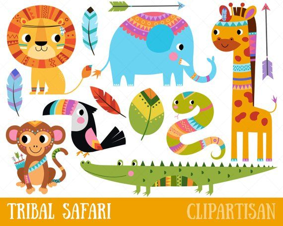 Tribal Safari Animals Clipart.