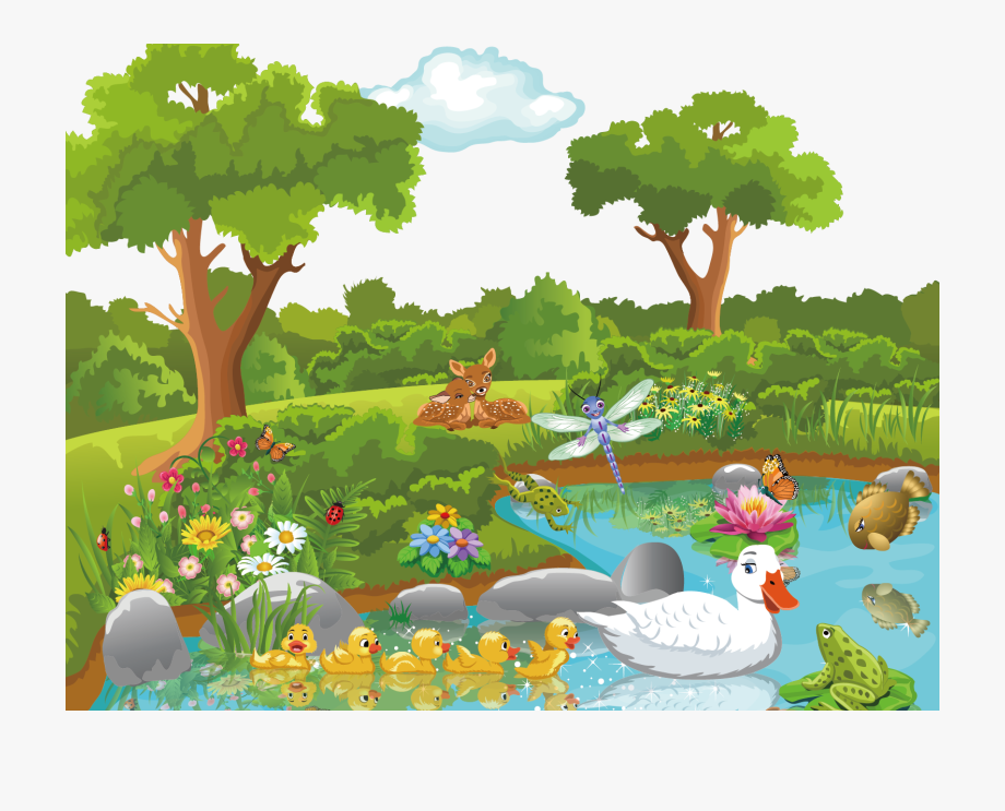 Pond Vector Cartoon Jungle.