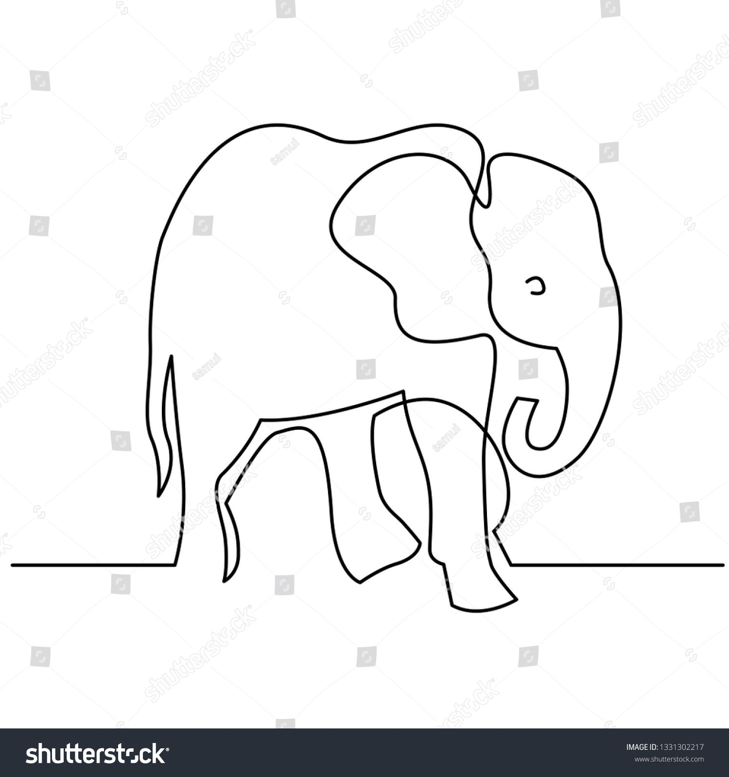 Elephant continuous one line drawings. Wild large animals.