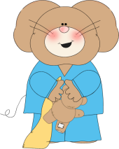 Mouse in Pajamas Clip Art.