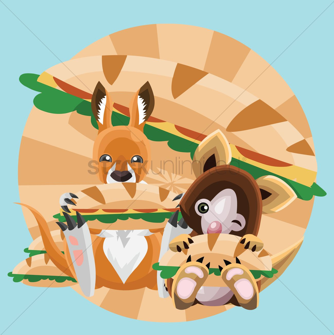 Free Animals eating sub sandwich Vector Image.