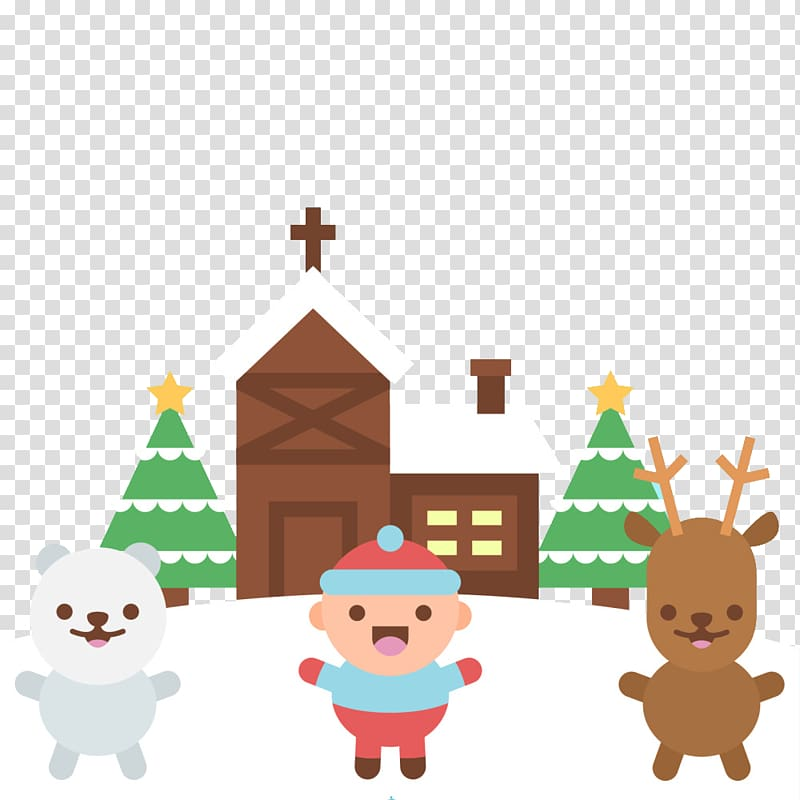 Winter snow building with animals transparent background PNG.