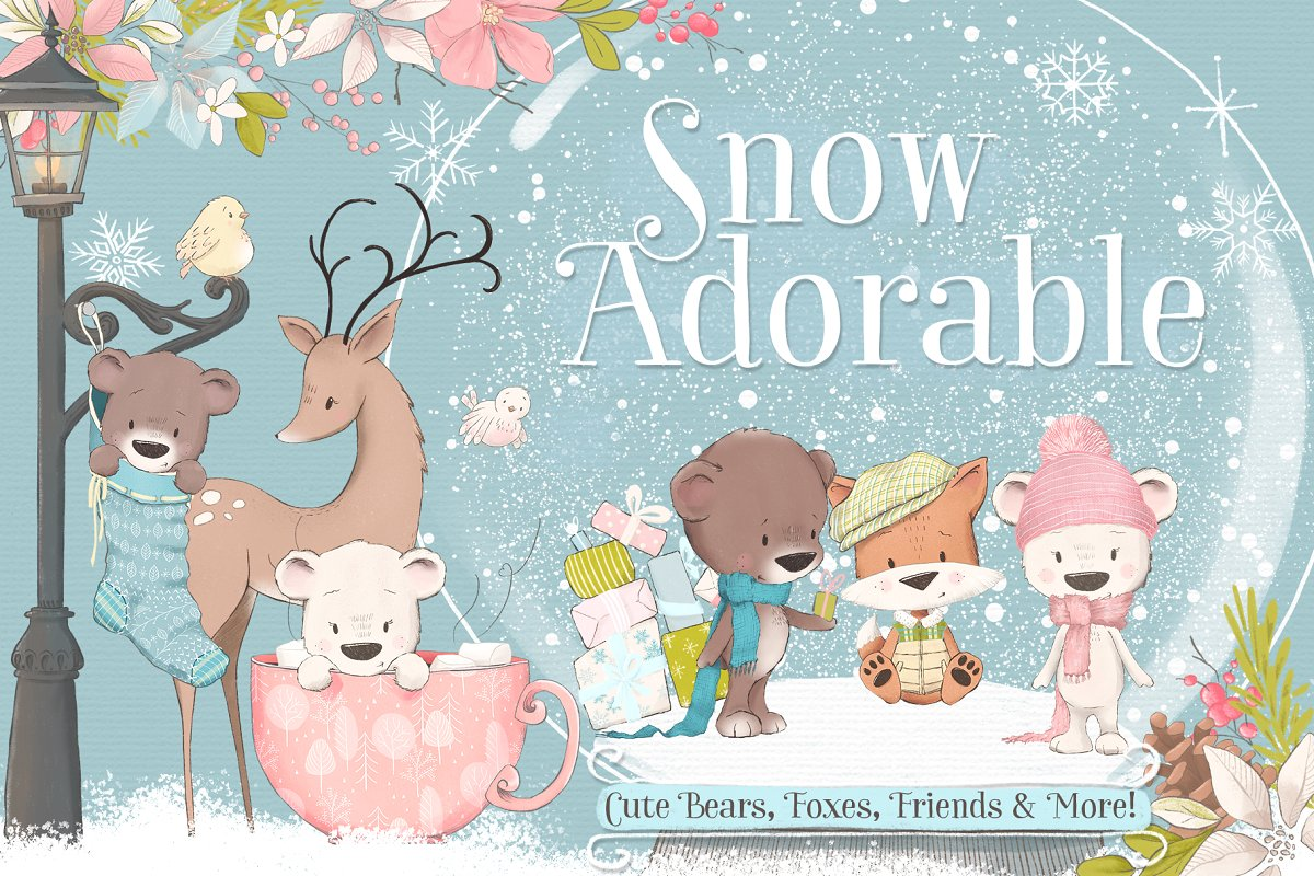 Snow Adorable Winter Clipart Kit.