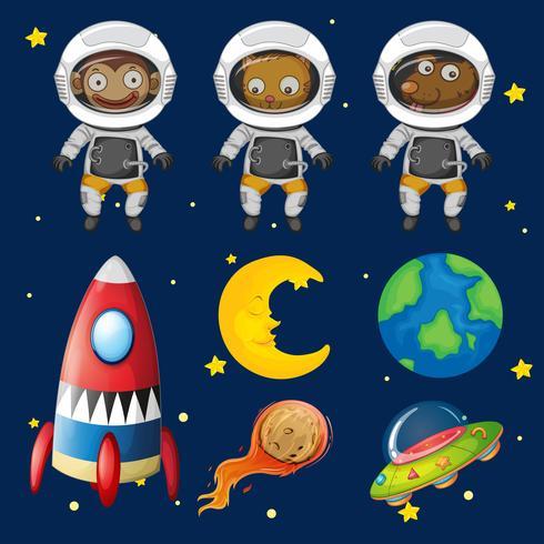 Set of space animals element.