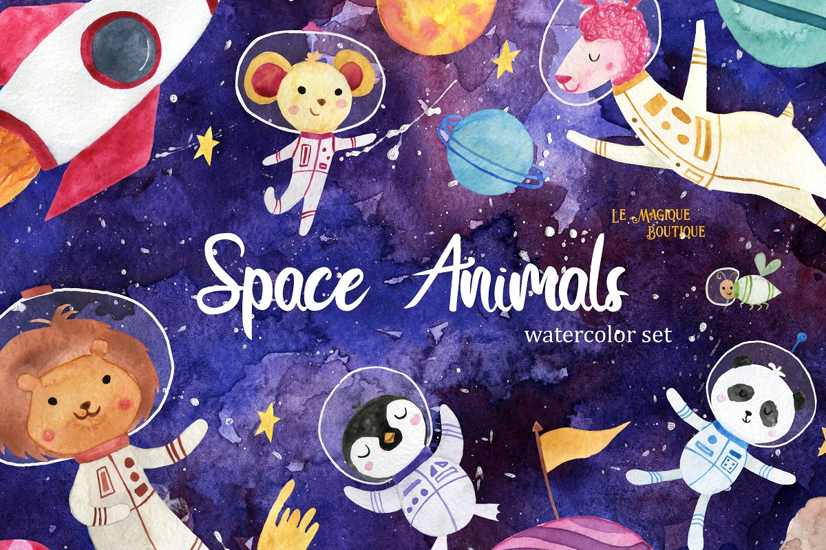 Space Animals Watercolor Clipart ~ Illustrations ~ Creative.