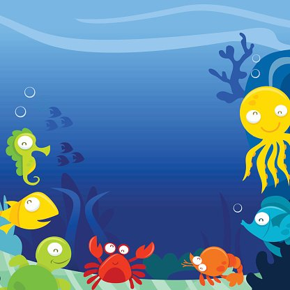 Happy Silly Cute Sea Animals Underwater Square copy space.