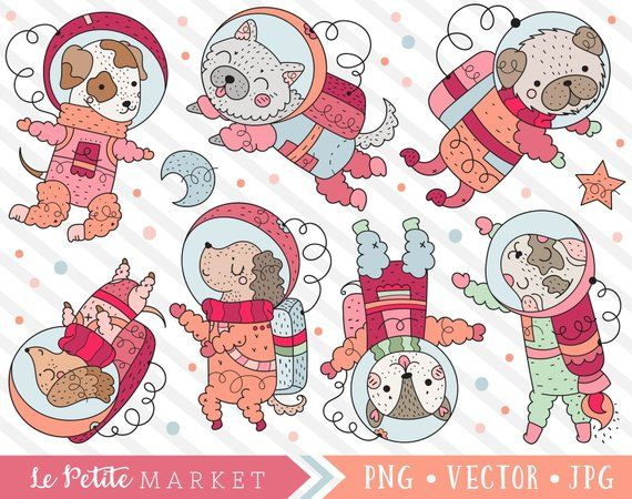 Astronaut Dog Clipart Set, Cute Dog Astronauts in Space.