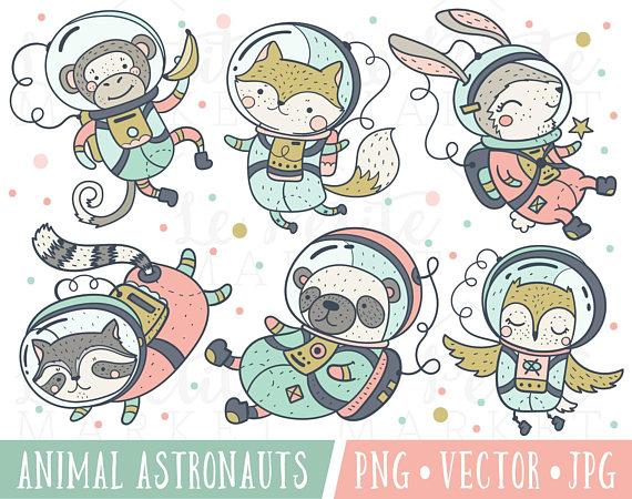 Kawaii Astronauts, Space Travelers, Cute Animals In Space.