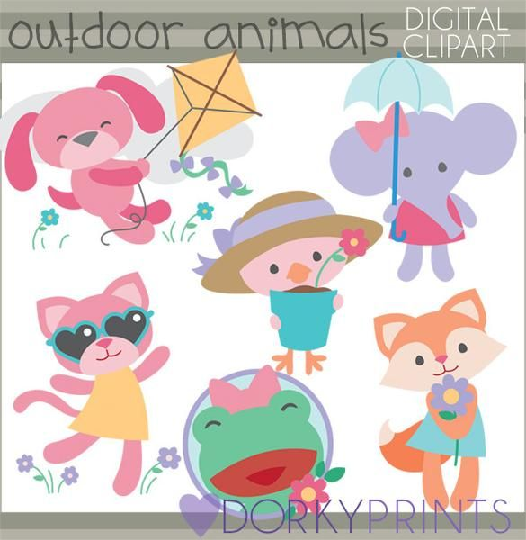 Girl Outdoor Animals Summer Clipart.
