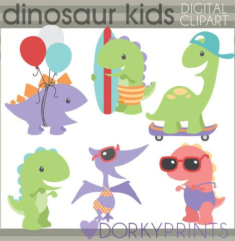 Summer Fun Dino Animals Clipart.