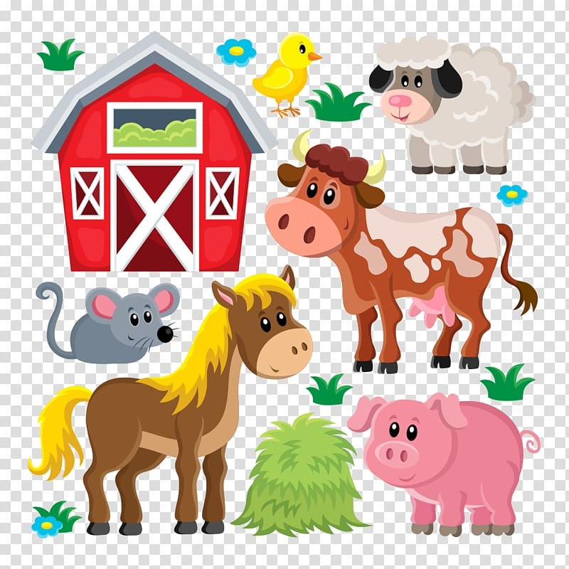 Domestic pig Live Sheep Farm , farm animals, illustration of.