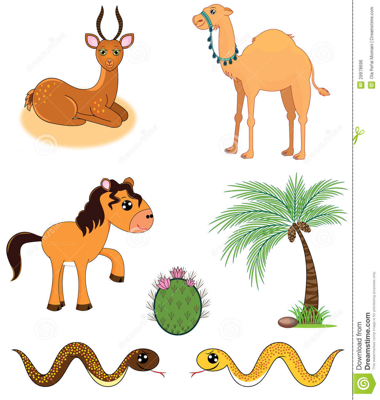 Desert Plants And Animals Clipart.