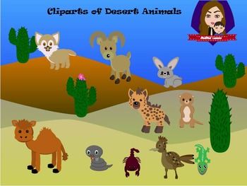 Modified Lessons Clipart of Desert Animals (Colored and BW).