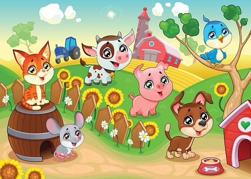 Cute farm animals in the garden Clipart Image.