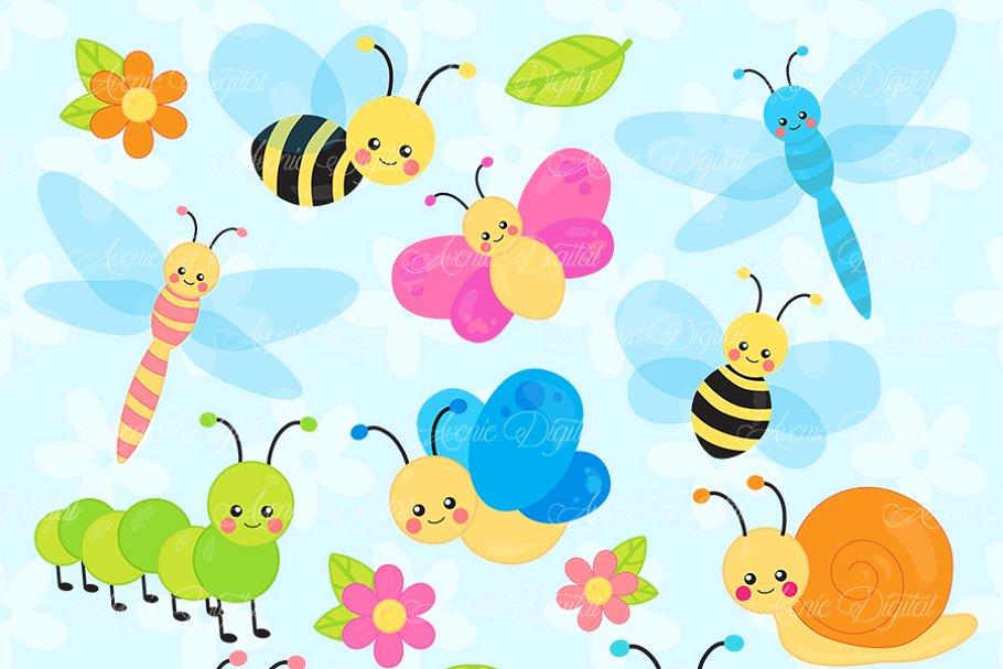 Cute Garden bugs Clipart ~ Illustrations ~ Creative Market.