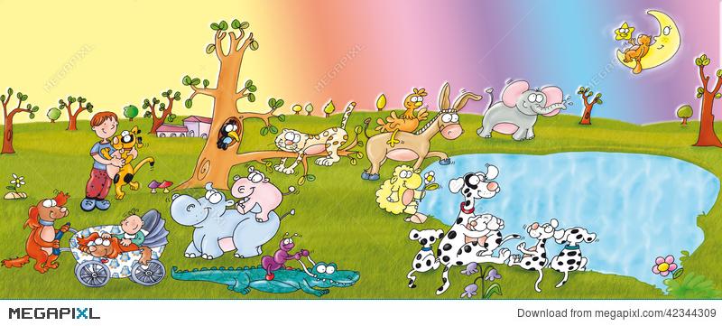 Animal Park, Lake, Dogs And Children, Happy. Illustration.