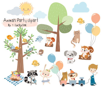 Animals fun park, woodland clipart Instant Download PNG file.