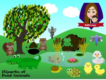 Modified Lessons Clipart of Pond Animals (Colored and BW).
