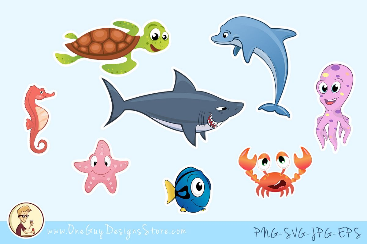 Sea Animals Clipart, Underwater Life, Cute Characters.
