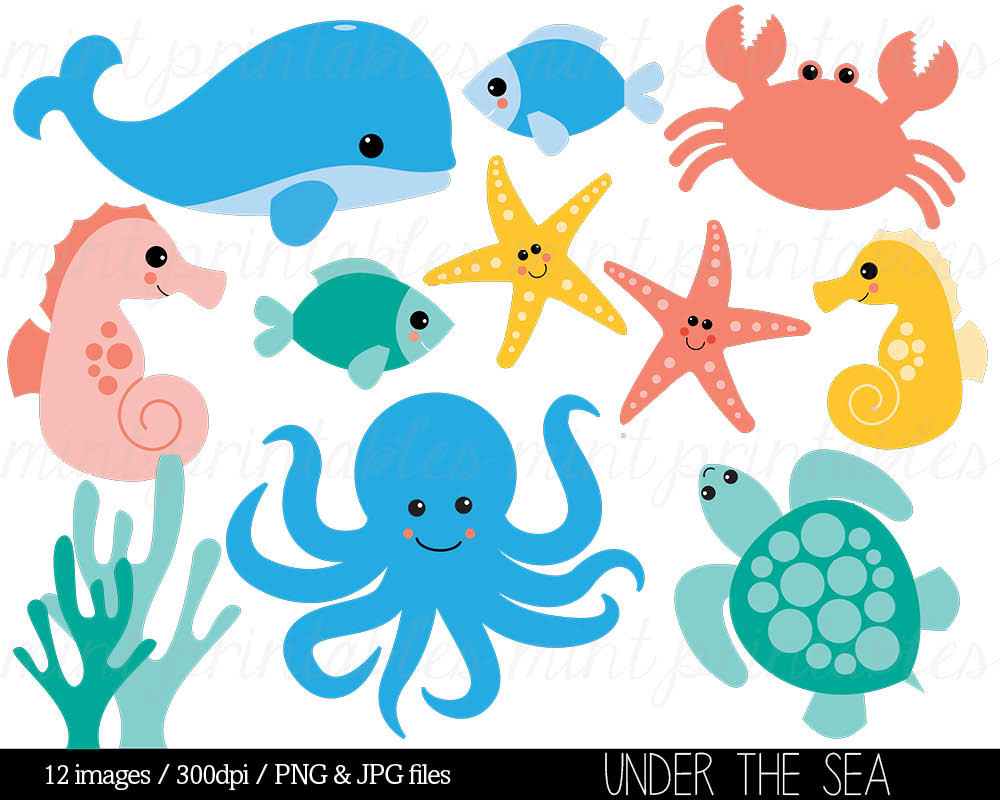 534 Sea Creatures free clipart.