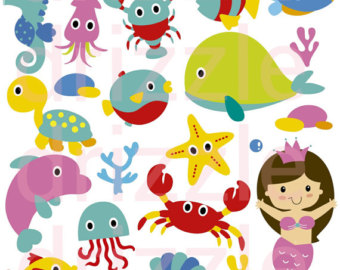 Sea Creatures Clipart Set.
