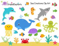 Sea Creatures SVGs, Fish Ocean Animals Cutting Templates.