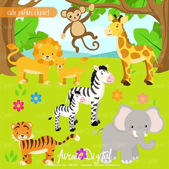 Cute Safari Clipart Scrapbook printables, baby wild animals clip art set.