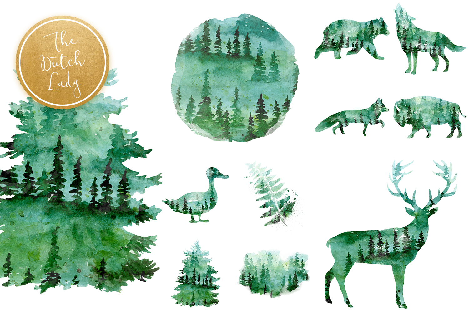 Green Winter Forest Animal Clipart.