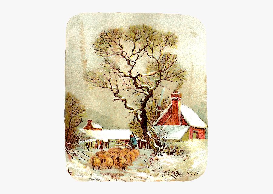 Vintage Winter Scenes , Free Transparent Clipart.