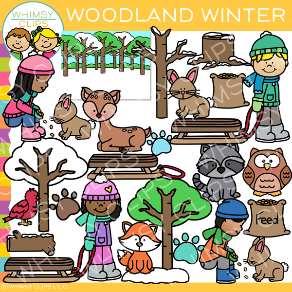Woodland Winter Clip Art.