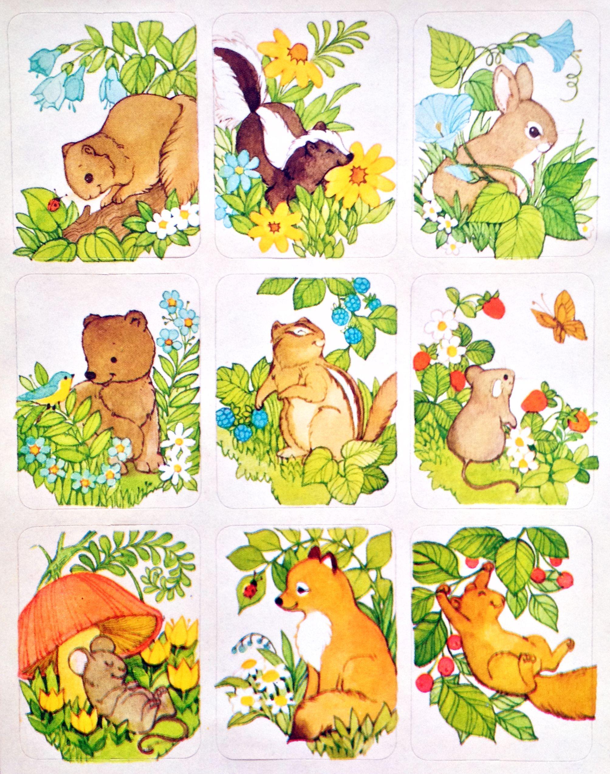 VTG woodland animal stickers.