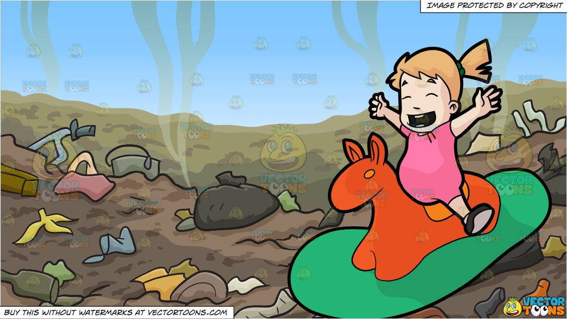A Female Toddler Riding An Animal Rocker and Garbage Dump Background.