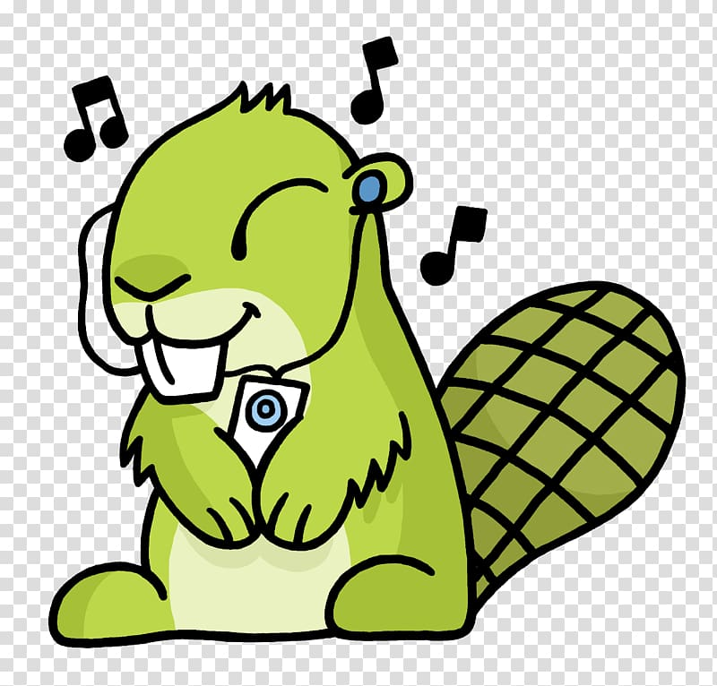 Green squirel illustration, Listen To Music Adsy transparent.