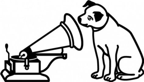 dog listen music logo clip art in black and white.